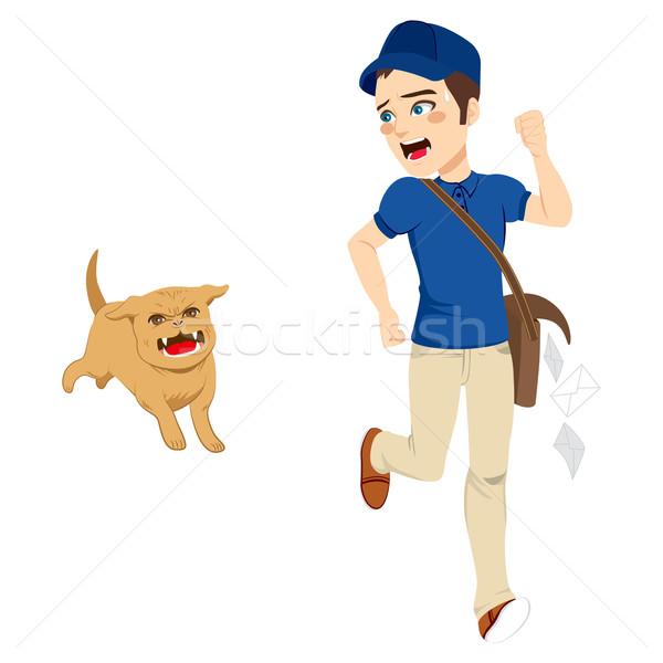 Briefträger läuft Hund machtlos weg gefährlich Stock foto © Kakigori