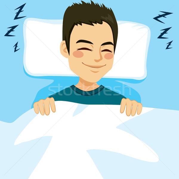 Stok fotoğraf: Adam · uyku · yatak · genç · mutlu