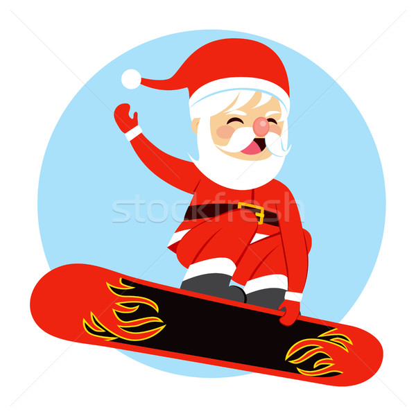 Christmas kerstman snowboarden illustratie gelukkig cute Stockfoto © Kakigori