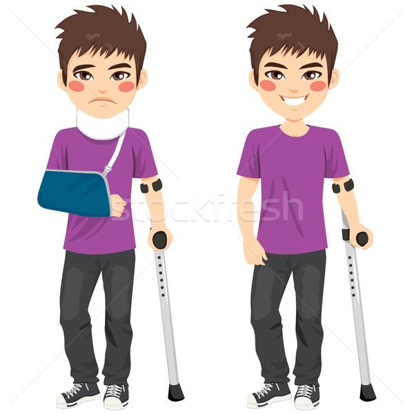 Injured Crutches Boy Stock photo © Kakigori