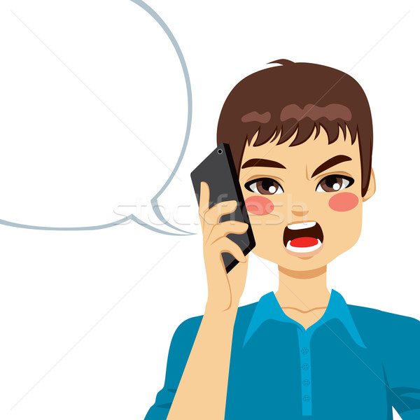 Boos telefoon gesprek jonge vent Stockfoto © Kakigori