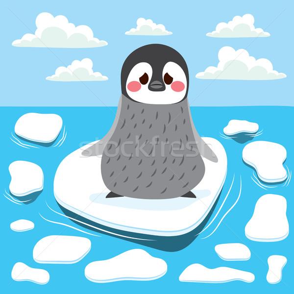 Globális felmelegedés pingvin aranyos szomorú baba elveszett Stock fotó © Kakigori