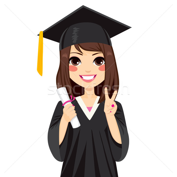 Brunette Graduation Girl Stock photo © Kakigori