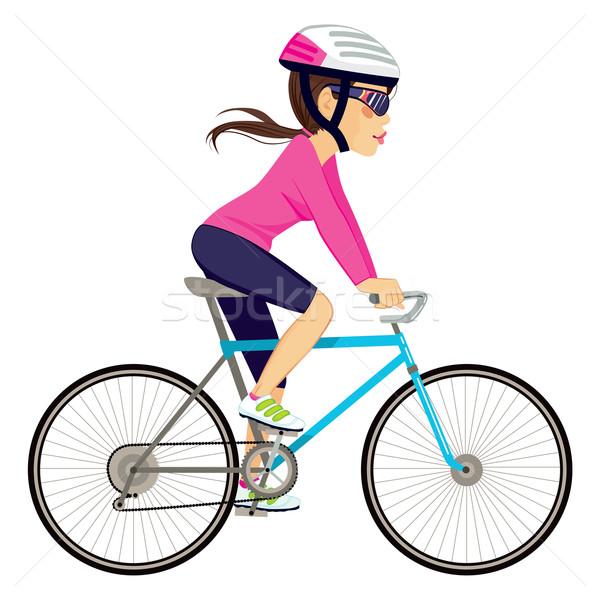 Bisiklete binme profesyonel kadın genç bisikletçi mutlu Stok fotoğraf © Kakigori