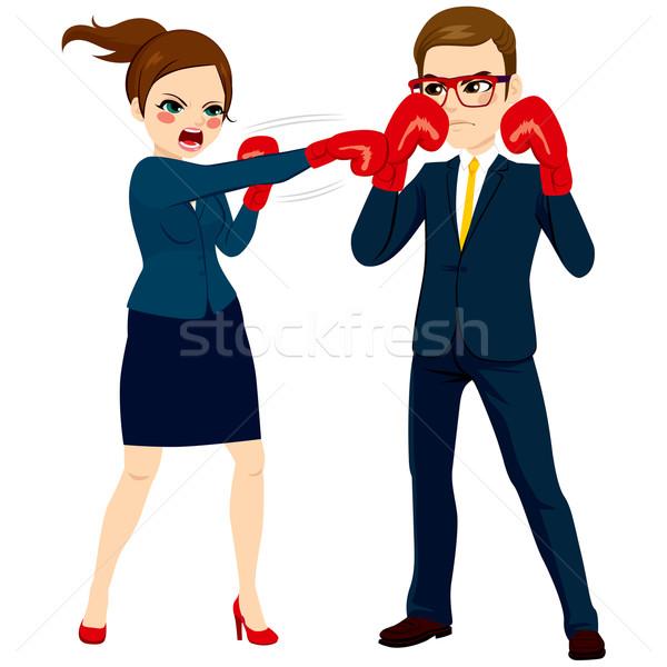 Businesswoman Fighting Against Businessman Stock photo © Kakigori