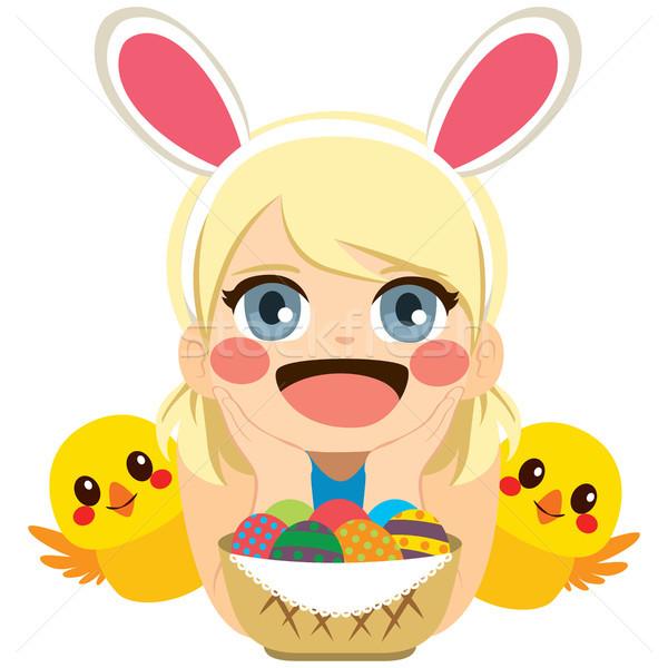 Girl Easter Chicks Stock photo © Kakigori