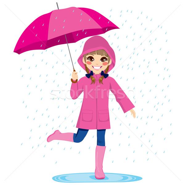 Girl Under The Rain Stock photo © Kakigori