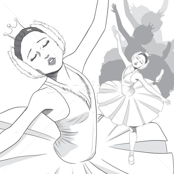 Ballerina hattyú balett fekete fehér rajz Stock fotó © Kakigori