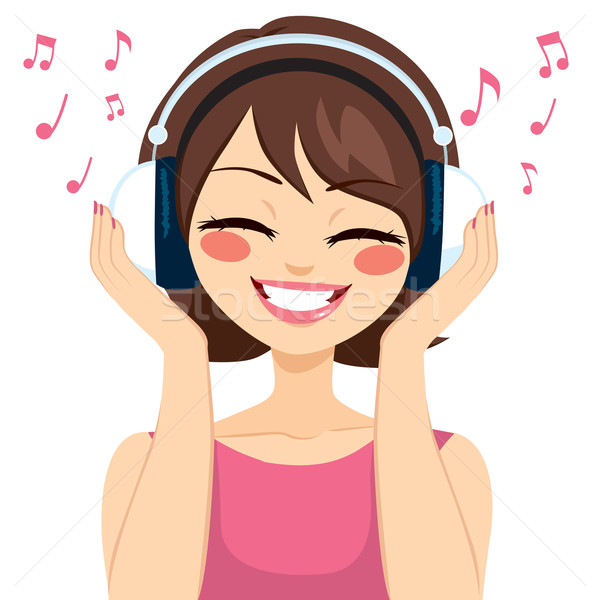 Foto stock: Mujer · música · hermosa · jóvenes · morena