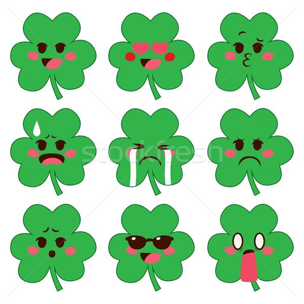 Shamrock Emoji Expressions Stock photo © Kakigori