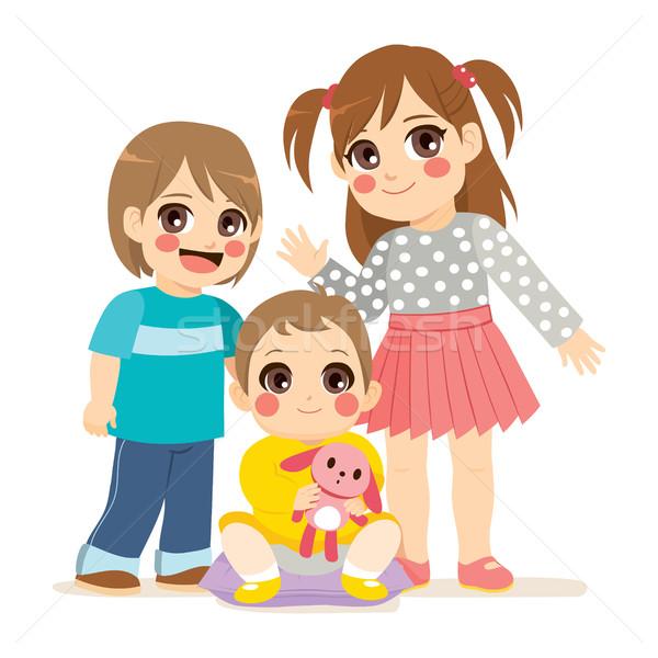 Aranyos testvérek illusztráció család kicsi baba Stock fotó © Kakigori
