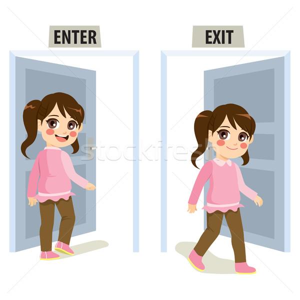 少女 終了する ドア 女の子 子 ストックフォト © Kakigori