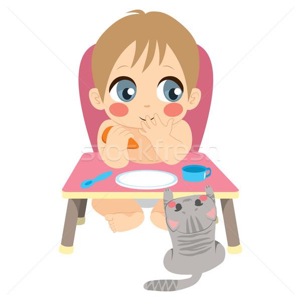 Bebê alimentação distraído bonitinho menino sessão Foto stock © Kakigori