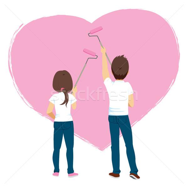 Couple Painting Heart Wall Stock photo © Kakigori