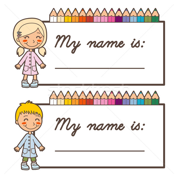 Student Name Stickers Vector Illustration 169 Kakigori