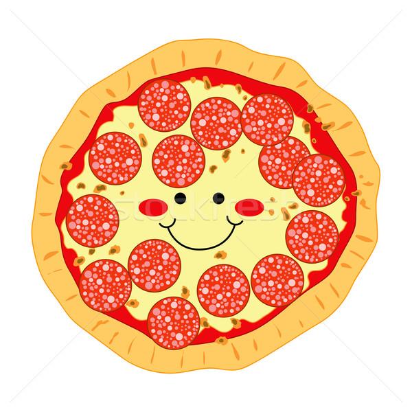 Pepperoni pizza feliz sonriendo mozzarella sonrisa Foto stock © Kakigori