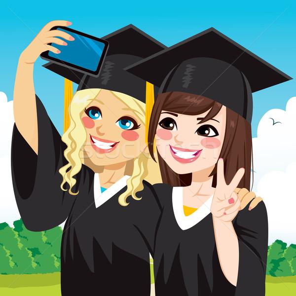 Graduação meninas dois belo estudante dia Foto stock © Kakigori
