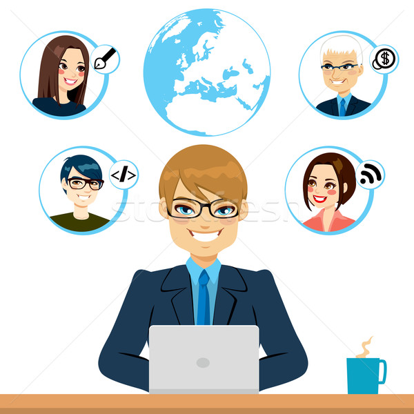Freelance jonge werken samenwerking internet Stockfoto © Kakigori