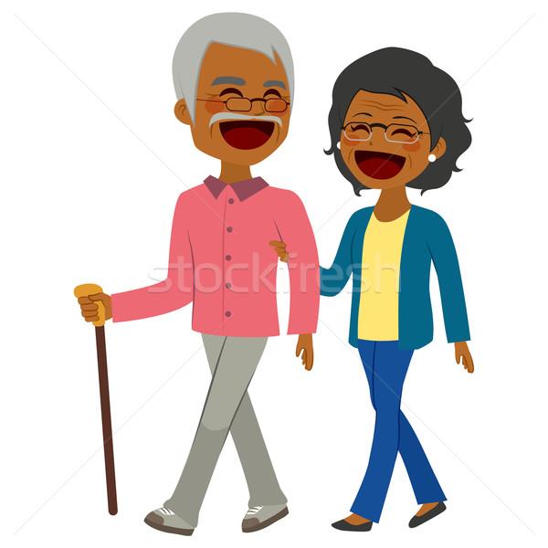 African American Senior Couple Walking Stock photo © Kakigori