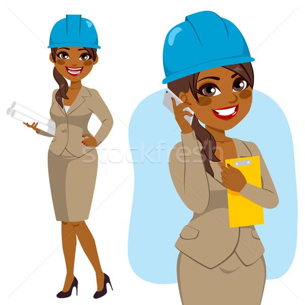 építész afroamerikai nő karakter áll kék védősisak Stock fotó © Kakigori