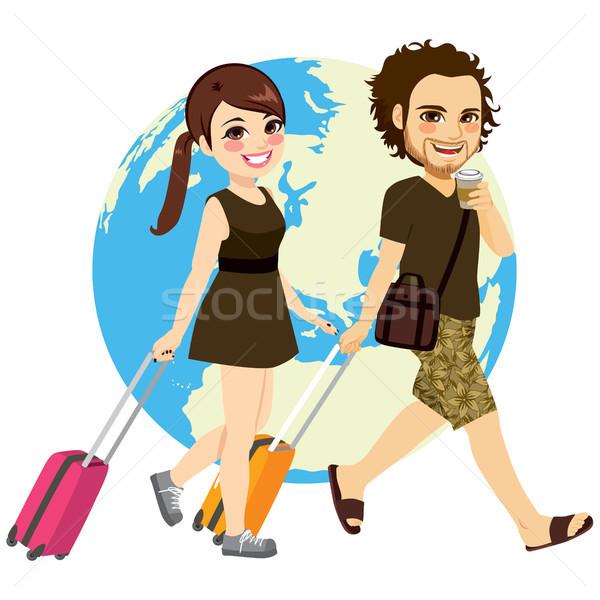 Couple Traveling Vector Illustration C Kakigori 8223435 Stockfresh