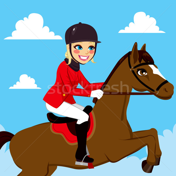 Equestrian Woman Jumping With Horse 