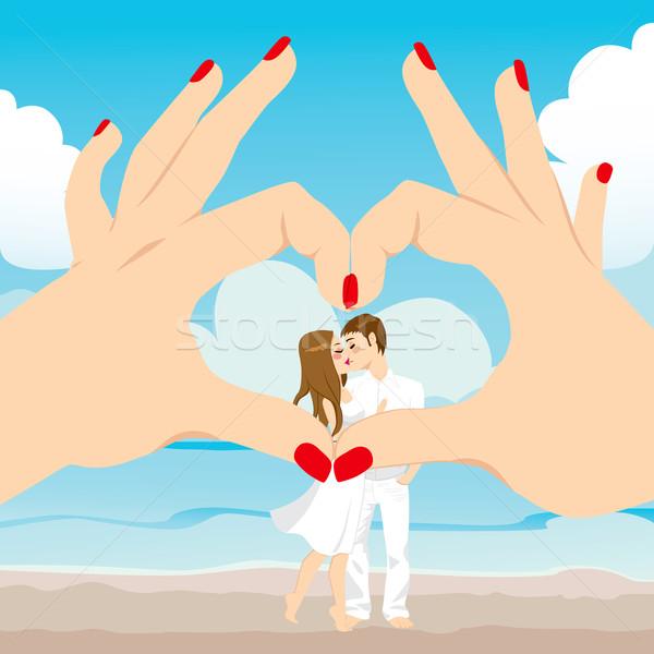 Stockfoto: Strand · kus · liefde · hart · naar · paar