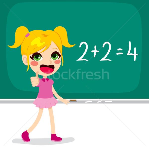 Meisje wiskunde berekening cute weinig blond Stockfoto © Kakigori