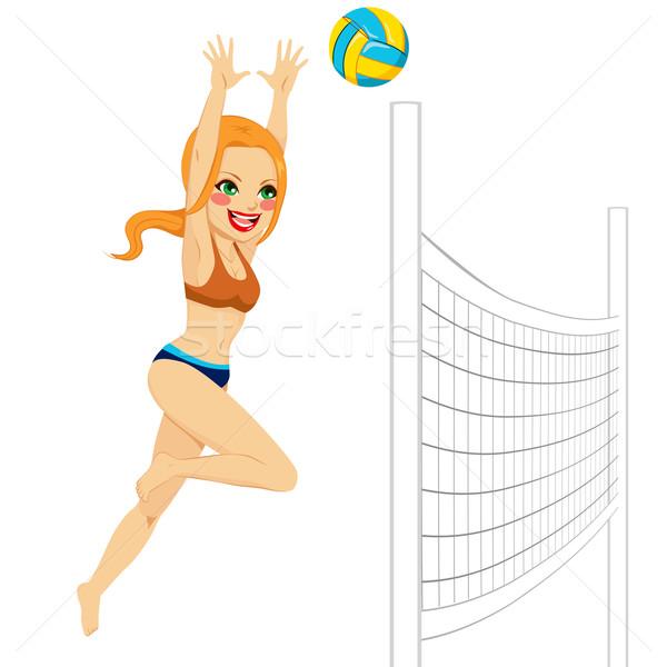 Voleibol mulher jogador belo vermelho saltando Foto stock © Kakigori