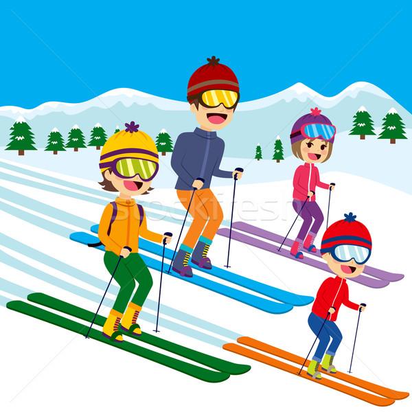 Family Skiing Snow Stock photo © Kakigori