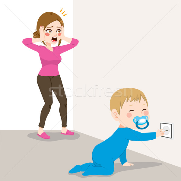 Stressed Mom Baby Socket Danger Stock photo © Kakigori