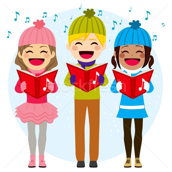 Kids Singing Christmas Carols Stock photo © Kakigori