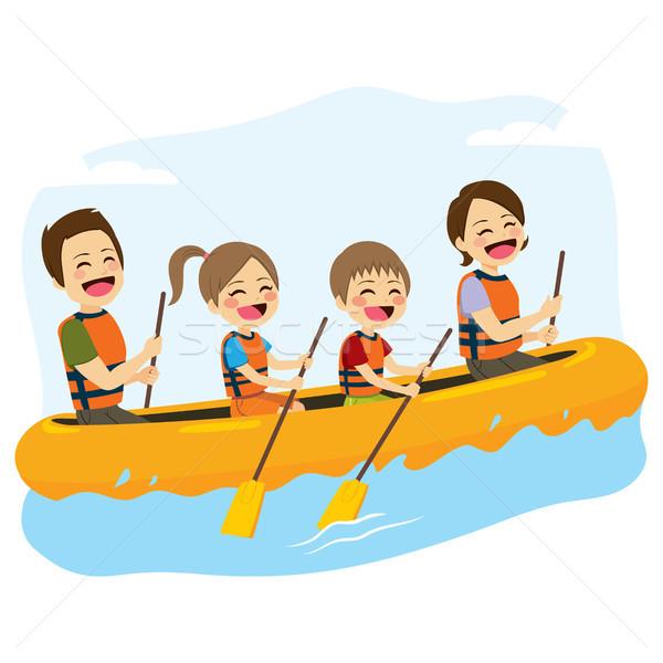 Rafting jóvenes familia feliz junto río Foto stock © Kakigori