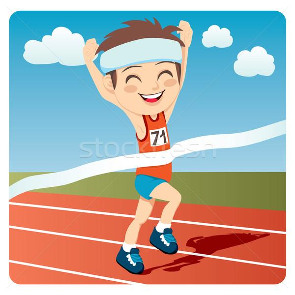 Atléta férfi fiatal nyerő olimpiai játékok futás Stock fotó © Kakigori