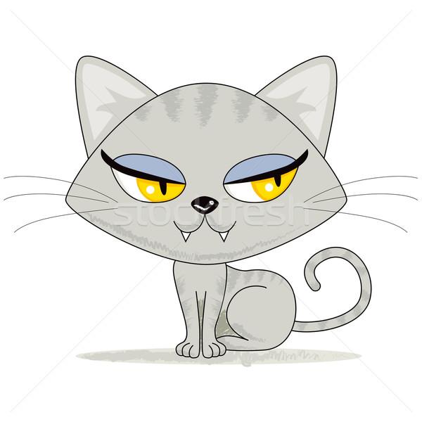 かわいい 子猫 見える グレー 女性 右 ストックフォト © Kakigori