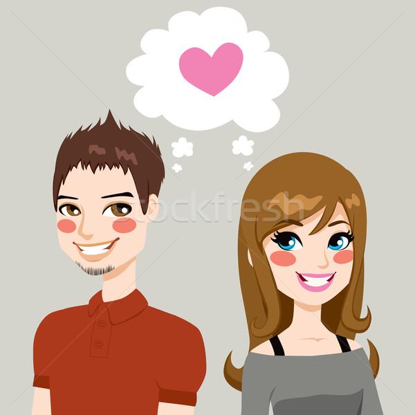 Objętych miłości ilustracja człowiek kobieta strona Zdjęcia stock © Kakigori
