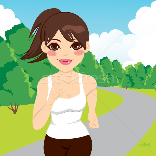 Jogging vrouw lopen park mooie gelukkig Stockfoto © Kakigori