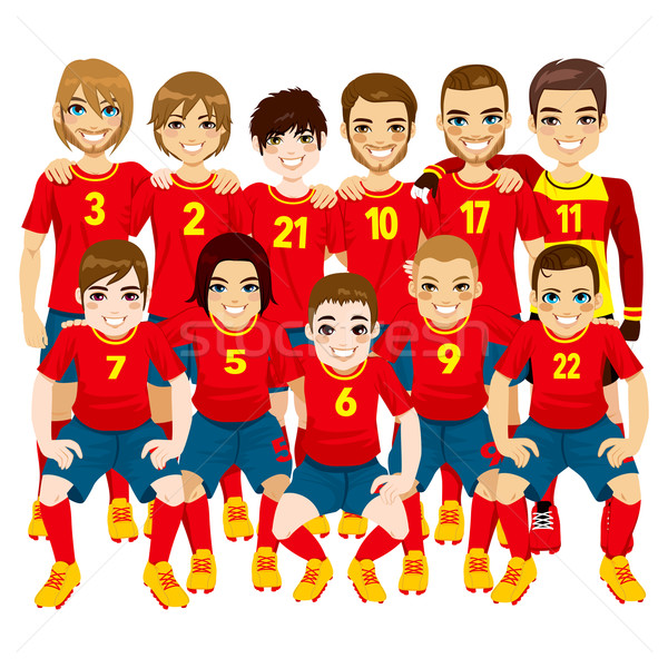 Vermelho futebol equipe ilustração masculino profissional Foto stock ©  Kakigori 74b453ce51642