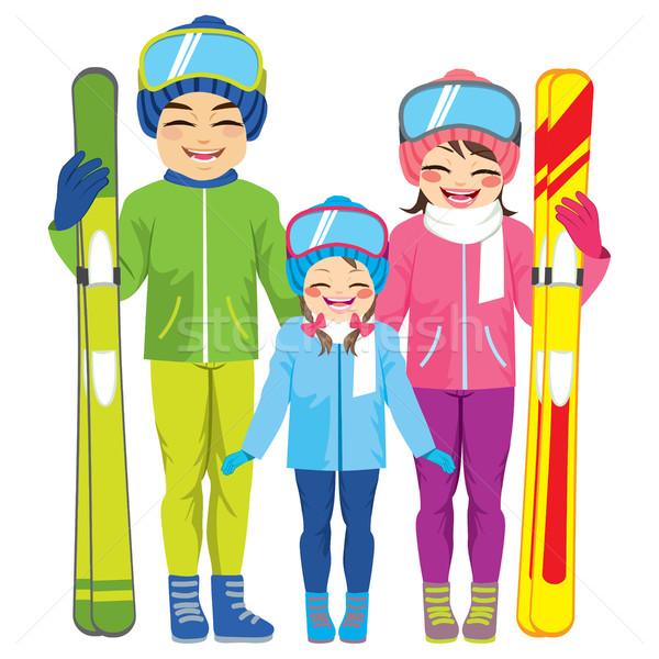 Family Skiing Stock photo © Kakigori