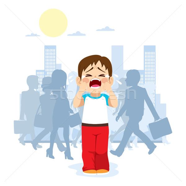 Stracił dziecko cute mały płacz miasta Zdjęcia stock © Kakigori