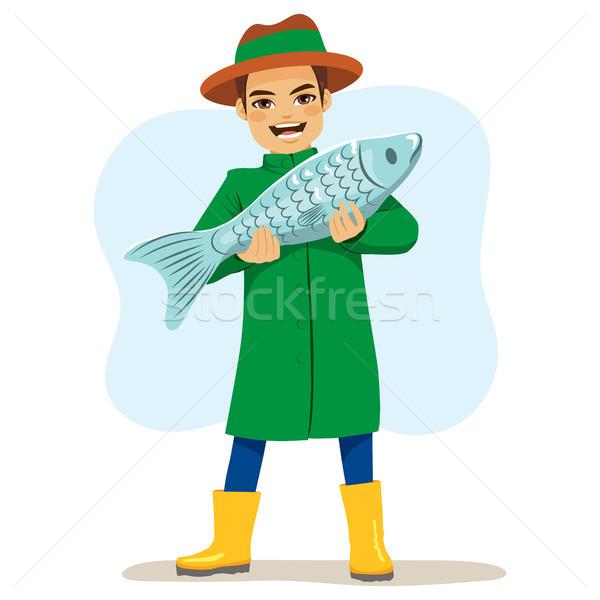 漁師 ビッグ 魚 幸せ 文字 ストックフォト © Kakigori