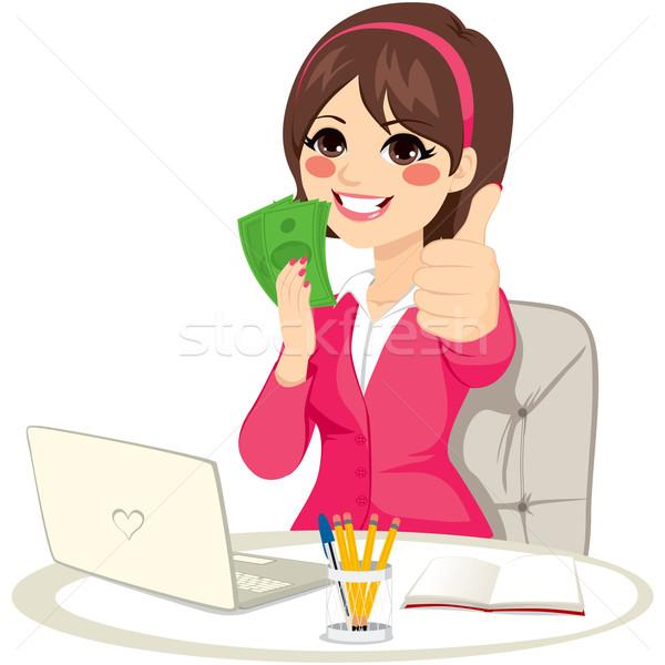 成功した お金 ファン 女性実業家 緑 ストックフォト © Kakigori