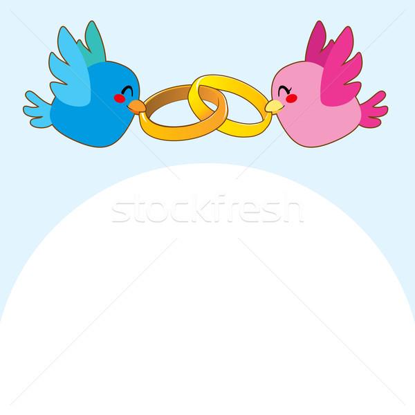 Blau Vogel Engagement Ringe rosa Vögel Stock foto © Kakigori