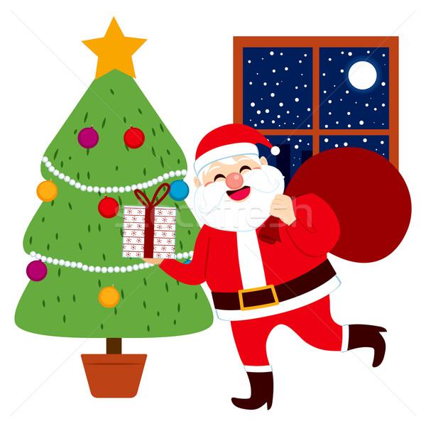 Santa Claus Bringing Gifts Tree Stock photo © Kakigori