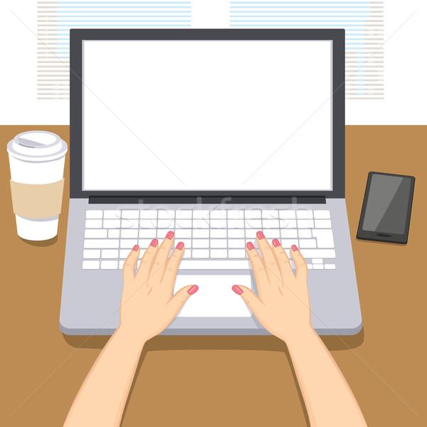 Woman Hands Writing Laptop Stock photo © Kakigori