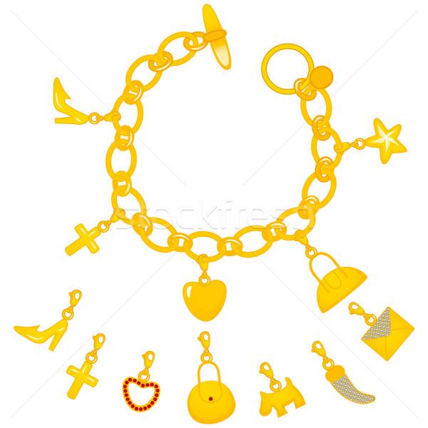 Złoty bransoletka ilustracja piękna pełny cute Zdjęcia stock © Kakigori