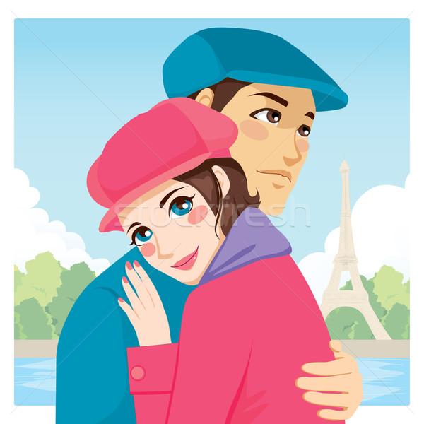 любителей обнять Эйфелева башня молодые пару Париж Сток-фото © Kakigori