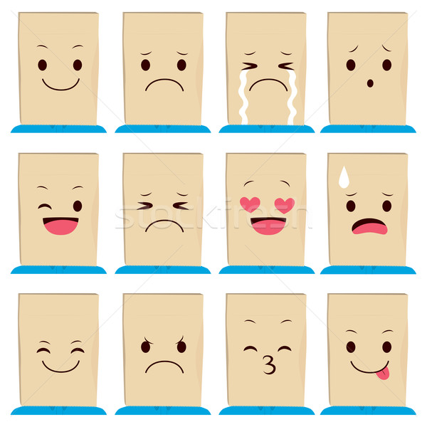 Stock photo: Paper Bag Face Expressions