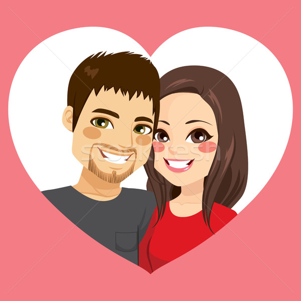 Valentine Couple Heart Frame Stock photo © Kakigori
