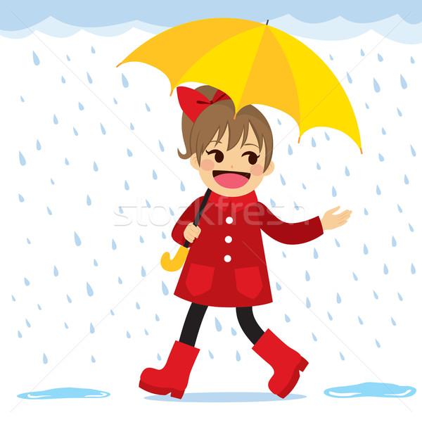 Girl Raining Spring Stock photo © Kakigori
